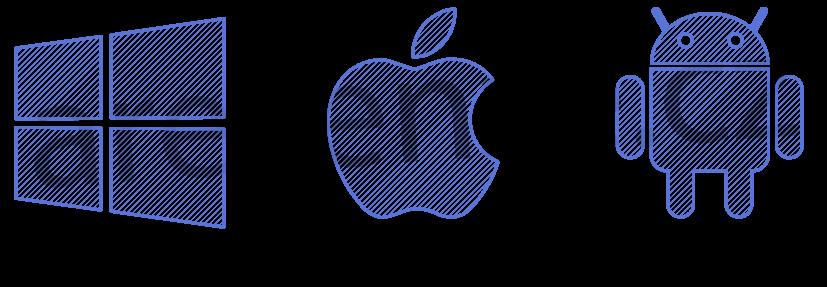 Loga operačních systémů smartphonů. Windows phone, Apple iOS, Google Android
