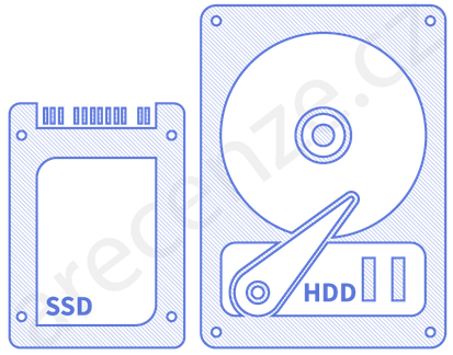 Ukázka provedení SSD disku a HDD disku