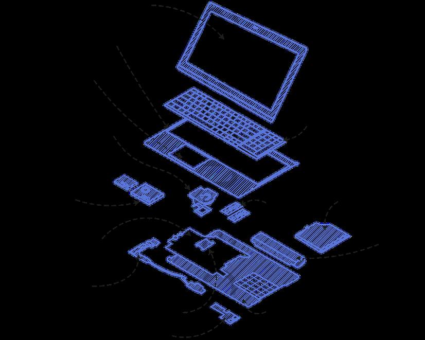 Důležité komponenty notebooku, ze kterých se skládá.