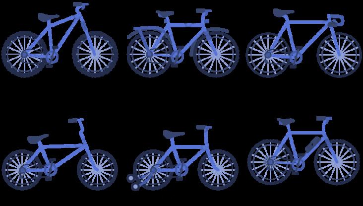 Vyobrazení rozdílů mezi různými typy jízdních kol