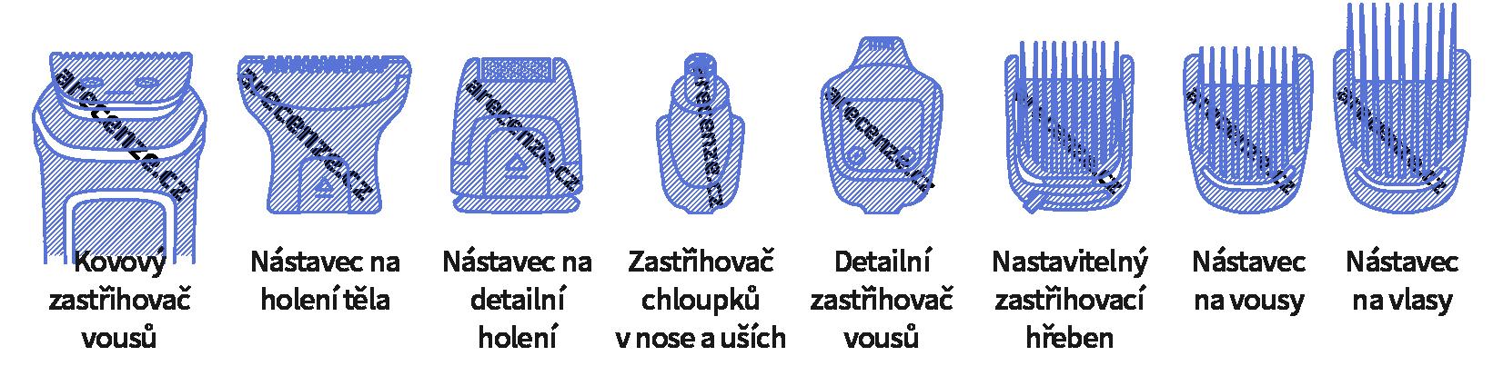 Ukázka různých typů nástavců na strojek na vlasy